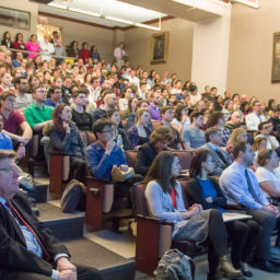 Audience members listen to the keynote speaker during the 2017 Janet Rowley Research Day in Billings Auditorium
